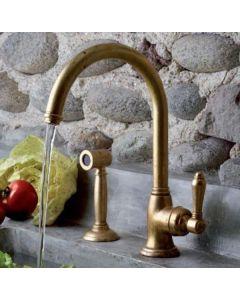 Küchenarmatur Heritage mit Handbrause Grobmessing, Nicolazzi