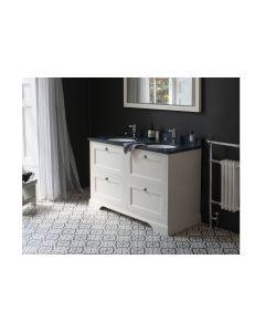 Doppel-Waschtisch Kommode Burlington 130 cm mit Schubladen, Minerva Granit
